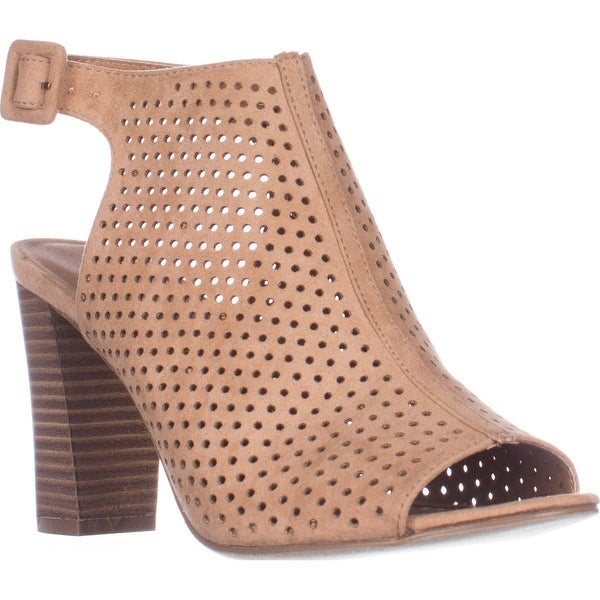 madden girl Beckie Perforated Dress Sandals, Camel