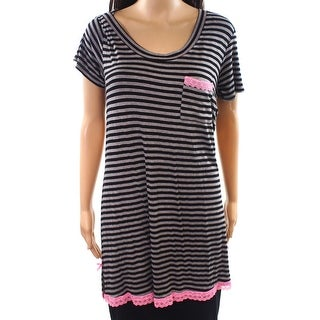 Honeydew NEW Gray Womens Size Medium M Striped Sleepshirt Sleepwear
