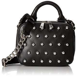 French Connection Womens Vinny Faux Leather Studded Crossbody Handbag - monarch blue - SMALL