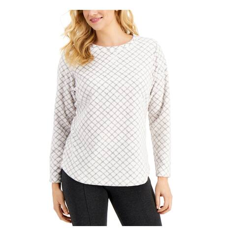 KAREN SCOTT Womens White Long Sleeve Crew Neck Sweater Size L
