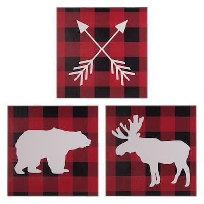 Sammy & Lou Lumberjack Moose 3 Pack Canvas Wall Art