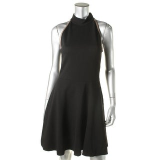 Three Dots Womens Leather Trim Sleeveless Casual Dress