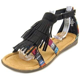 Minnetonka Maya Youth Open Toe Canvas Black Gladiator Sandal