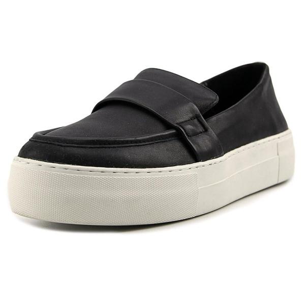 J/Slides Page Women Round Toe Leather Black Loafer