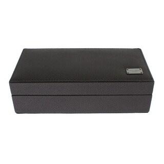 Dolce & Gabbana Dolce & Gabbana Gray Leather Ring Cufflinks Organizer Box Cover Case - One size