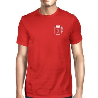 Coffee For Life Pocket Man Red T-shirts Funny Typographic Tee