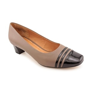 Auditions Classy Women  Square Toe Leather Tan Heels
