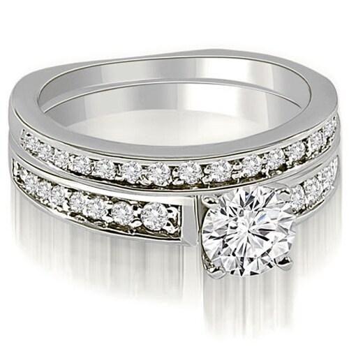 1.00 cttw. 14K White Gold Round Cut Diamond Bridal Set
