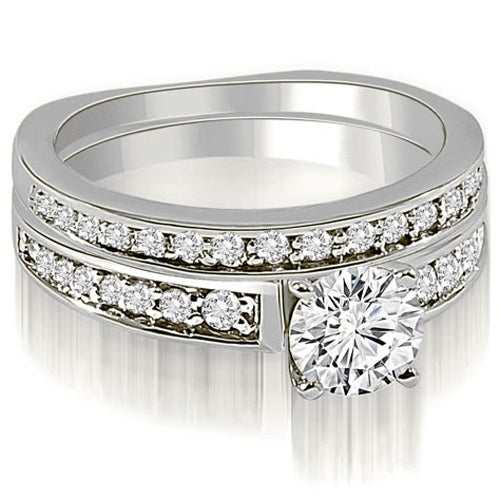 1.25 cttw. 14K White Gold Round Cut Diamond Bridal Set