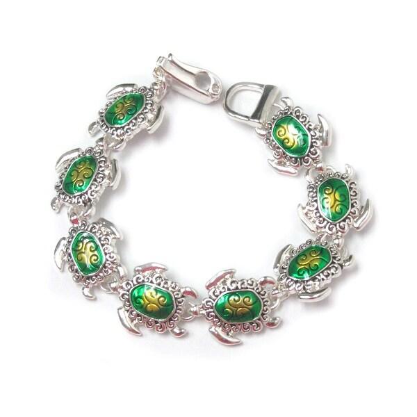 Sea Turtle Link Magnetic Clasp Bracelet - Green