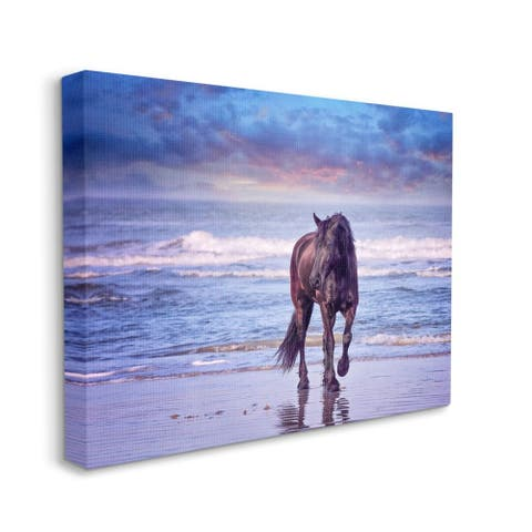 Stupell Industries Wild Horse on Beach Colorful Blue Sunset Canvas Wall Art
