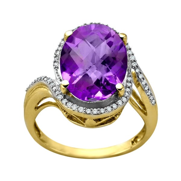 5 1/4 ct Amethyst and 1/6 ct Diamond Ring in 14K Gold