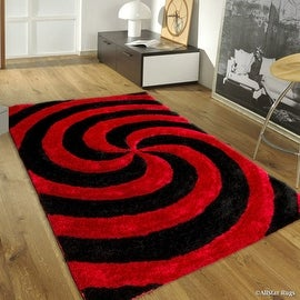 "AllStar Rugs Red Shaggy Area Rug with 3D Black Spiral Design. Contemporary Formal Casual Hand Tufted (7' 6"" x 10' 5"")"