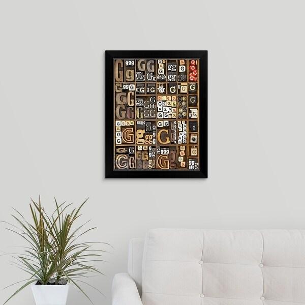 """""""Letter G, Letterpress"""" Black Framed Print"""