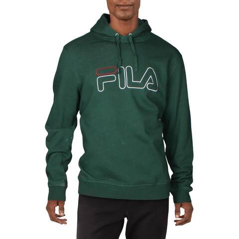 Fila Mens Brooklyn Hoodie Sweatshirt Fitness - Hunter Green/Red - XL