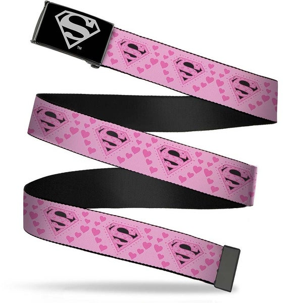 Superman Reverse Brushed Silver Cam Superman Logo & Hearts Pink Black Web Belt