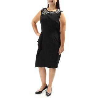 Womens Black Sleeveless Below The Knee Sheath Formal Dress Size: 16