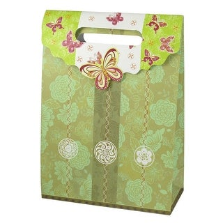 Unique Bargains Flower Pattern Hook Loop Closure Flodable Shopping Gift Bag