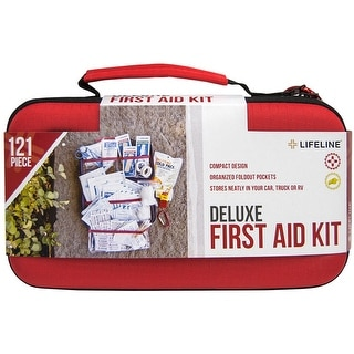 Lifeline Deluxe Hard-Shell Foam Case First Aid Kit - 121 Pieces - Red