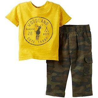 Carter's Baby Boys' 2 Piece Tee Set (Baby) - Yellow Camo - 6 Months