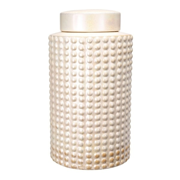 """11.5"""" White Contemporary Style Keane Jar with Lid - N/A"""