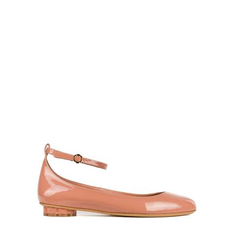 Salvatore Ferragamo Womens Blush Patent Leather Cefalu Flats