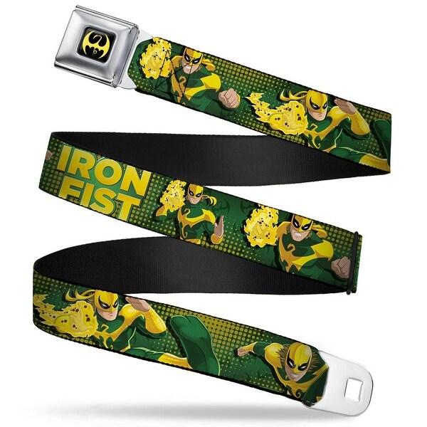 Ultimate Spider Man Iron Fist Dragon Logo Full Color Black Yellow Iron Fist Seatbelt Belt