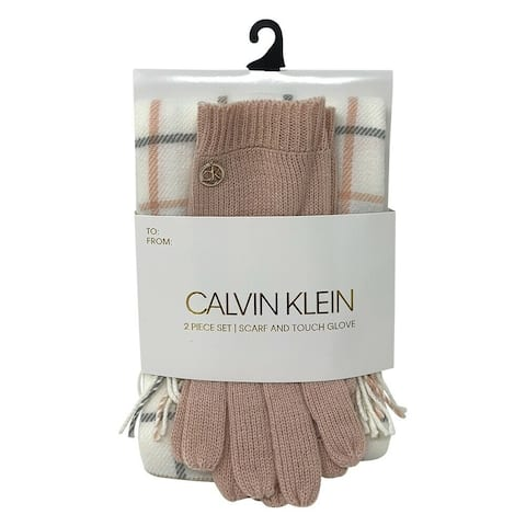 Calvin Klein Plaid Scarf and Knit Touch Glove 2 Piece Set