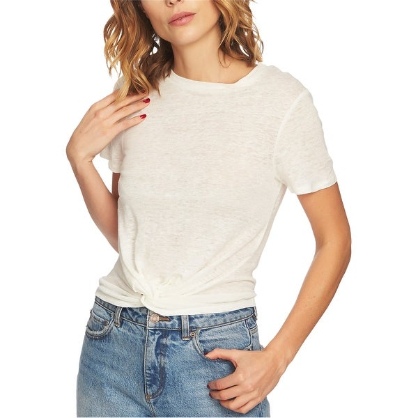 1.STATE Womens Twist Front Basic T-Shirt, Off-white, Medium. Opens flyout.
