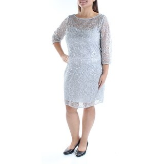 Womens Silver 3/4 Sleeve Knee Length Party Dress Size: 16