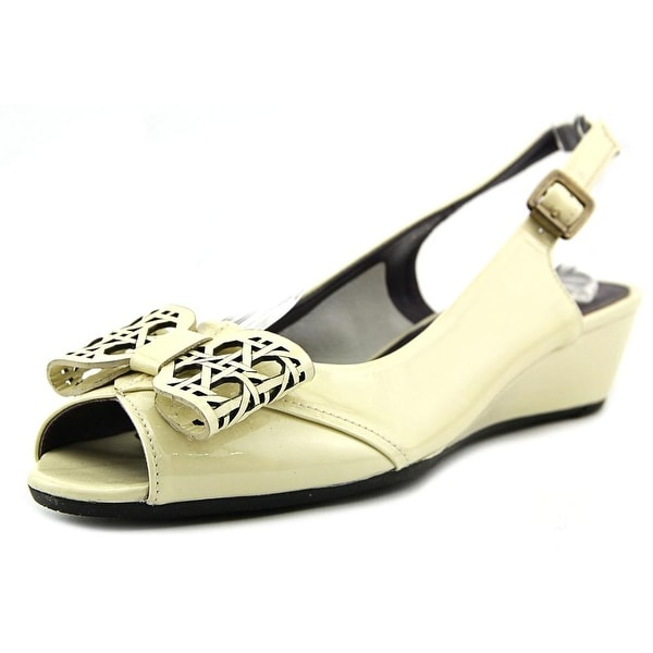 Vaneli Esin N/S Open-Toe Patent Leather Slingback Heel