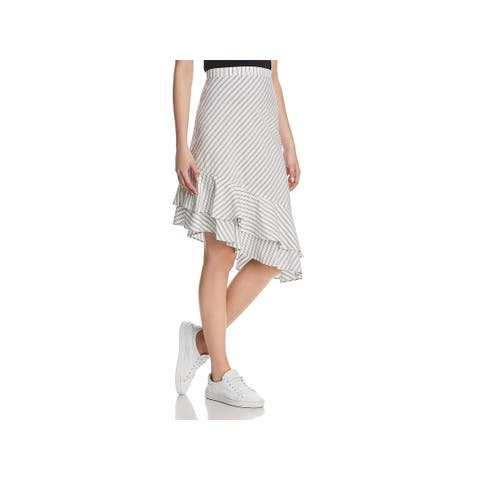 Joie Womens Yenene Asymmetrical Skirt Striped Flounce Hem