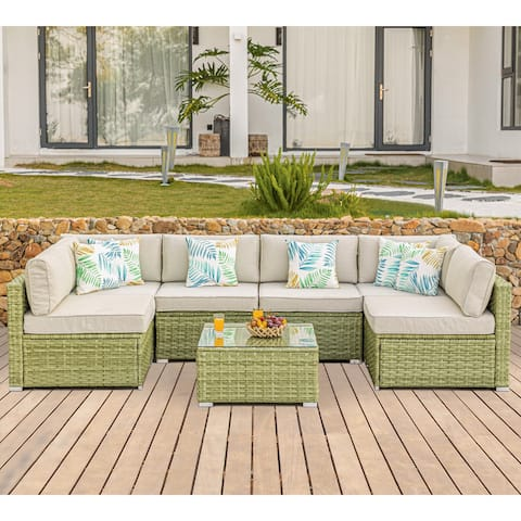 COSIEST 7 Piece Patio Furniture Light Olive Wicker Sectional Sofa Set