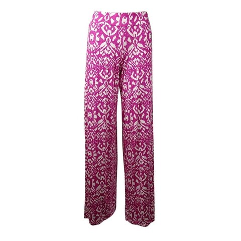 Lauren Ralph Lauren Women's Printed Knit Jersey Pants (XS, Pink Multi) - Pink Multi - XS