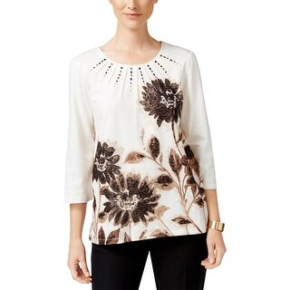 Alfred Dunner Womens Petites Peasant Top Embellished 3/4 Sleeves - pl