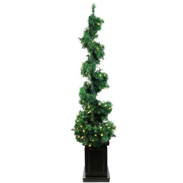 5' Pre-Lit Helix Spiral Potted Artificial Topiary Tree - Clear Lights - green