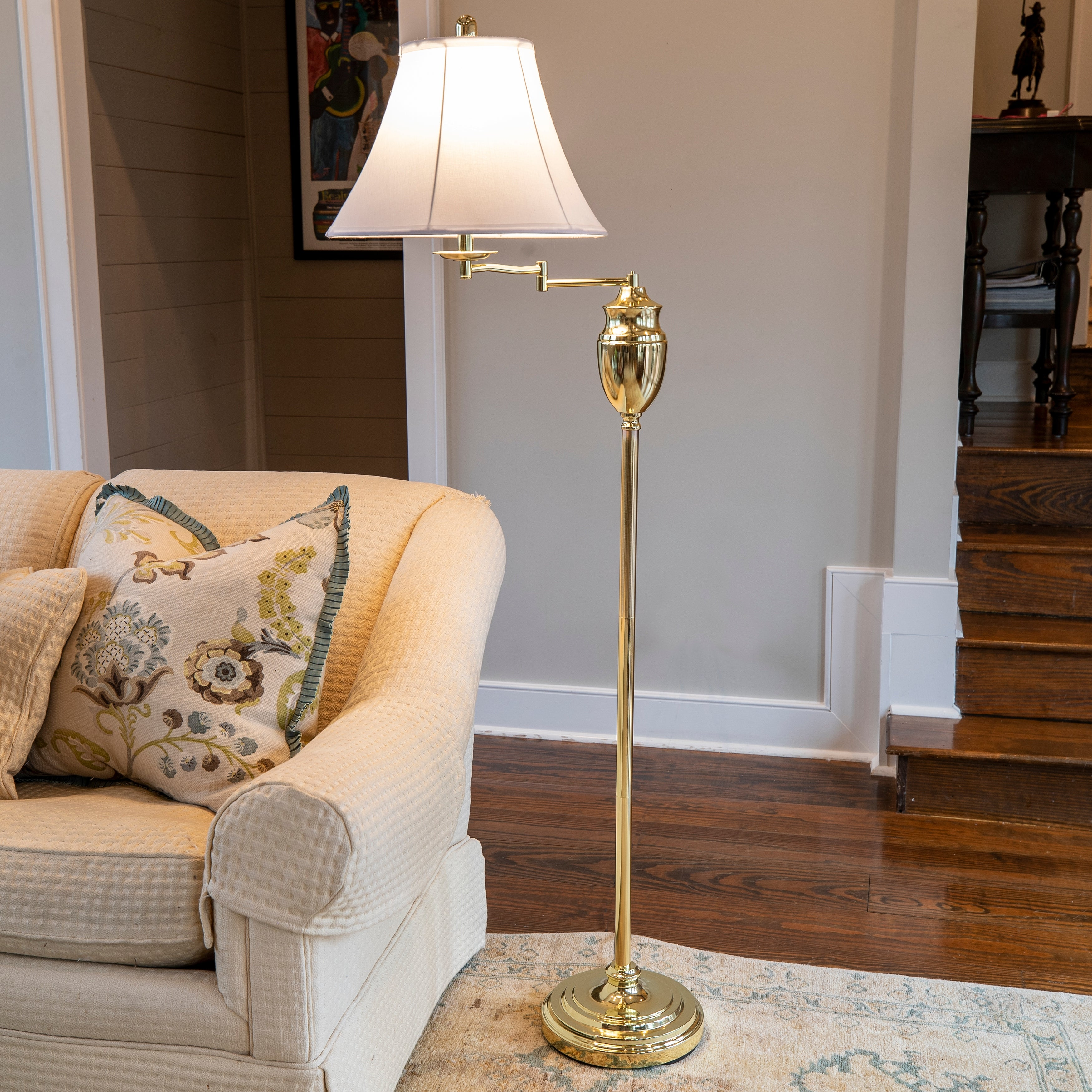 Image of: Shop Black Friday Deals On Swing Arm Floor Lamp With Faux Silk Shade Overstock 9663345