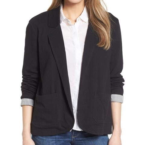 Caslon Black Crinkle Stretch Open Front Women XXL Blazer Jacket