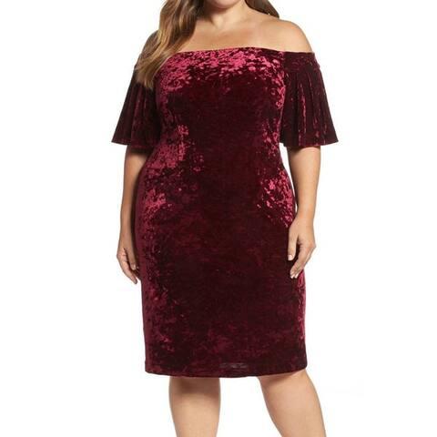 Eliza J Women's Plus Off-Shoulder Velvet Sheath Dress, Wine, 24W