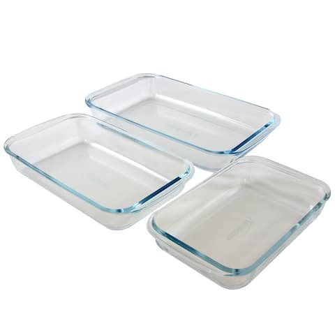 Sunbeam Everyday Casseroles 3-Piece Borosilicate Glass Bakeware Set, Clear