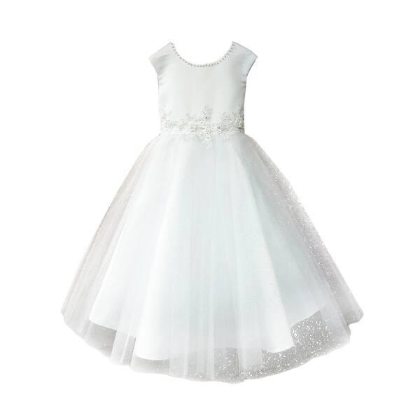 43ba336b90 Petite Adele Big Girls White 3D Embroidery Pearl Junior Bridesmaid Dress 16