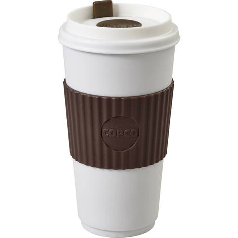 Copco To Go Travel Mug With Textured Non Slip Sleeve - Double Wall Insulation BPA Free 16 Oz - Brown / White - Brown / White