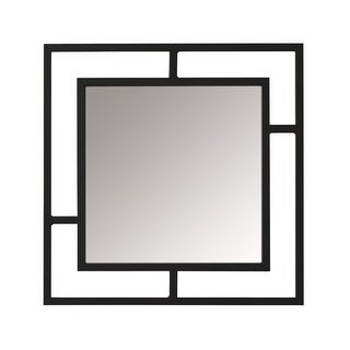 Offex Camber Powder Coated Steel Framed Decorative Square Mirror