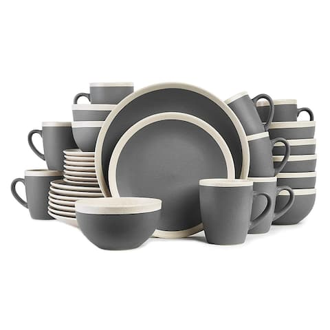 Stone Lain Stoneware Round Dinnerware Set, 2 Tone with Speckles