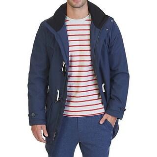 Nautica NEW Blue Mens Size Large L Full-Zip Toggle Coat Rainwear