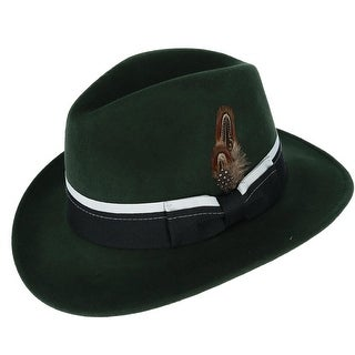 Broner Men's Down-Turned Brim Fedora with Dual Color Layered Hatband