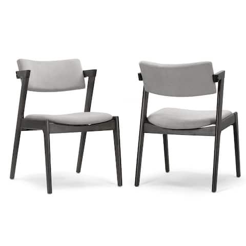 Set of 2 Auden Retro Modern Black Wood Wing Chair