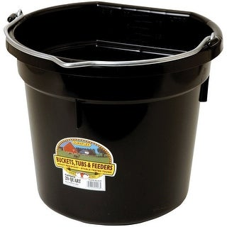 Little Giant P20FBBLACK Plastic Flat Back Bucket for Horses, 20 Quart, Black