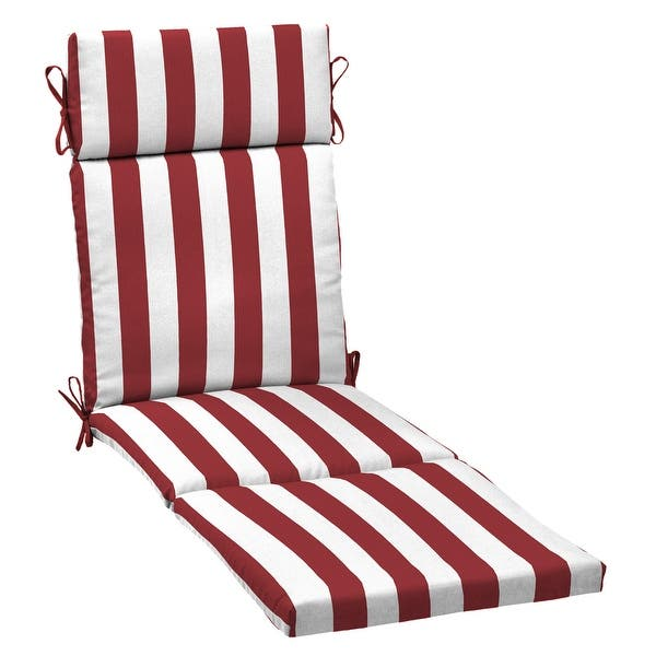 Arden Selections Outdoor 72 X 21 In Chaise Lounge Cushion Overstock 32332514 72 In L X 21 In W X 2 5 In H Ruby Cabana Stripe