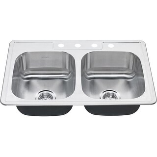 "American Standard 22DB.6332284S  Colony 33"" Double Basin Stainless Steel Kitchen Sink for Drop In Installations with Four Faucet"